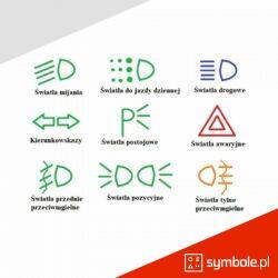 oznaczenia świateł w samochodzie